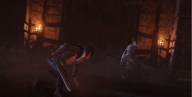 銀色の鎧をまとった竜騎士とのバトル