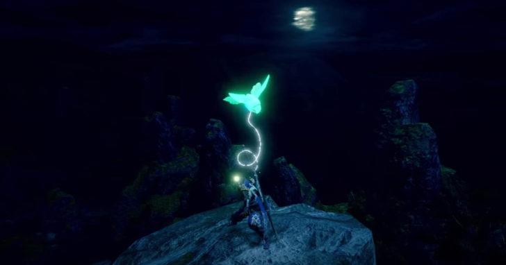 腕から蛍光緑色に光る蟲を発射し、その蟲がプレイヤーを引っ張るようにして移動することが可能