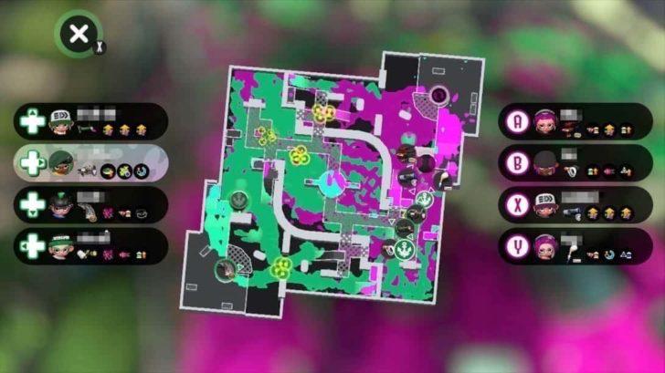 Xボタンでマップ表示。各プレイヤーの位置を詳しく見たいとき、メインギアを確認したいとき用