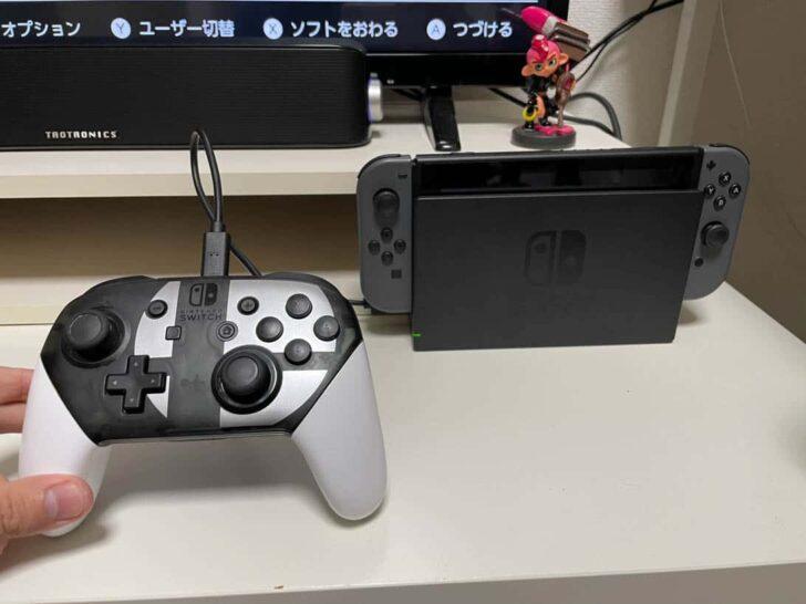 Proコントローラーを登録したい場合は、付属のUSB-CケーブルでSwitchドックとProコンを接続