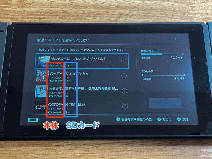 Switch本体やSDカードに保存されているソフトデータの一覧が出てくる
