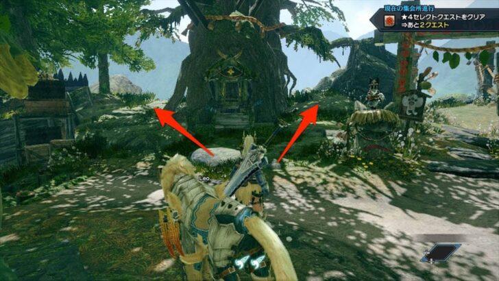 オトモ隠密隊の受付(アイルー頭領コガラシ)の左側あたりにある大樹の裏側に、左右どちらからでも良いので回る