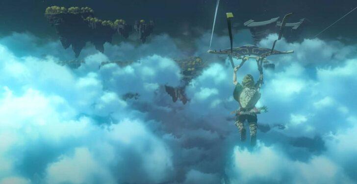 次はパラセールを使いながら雲間を飛んでいるリンク。その眼前には多くの浮かぶ島々
