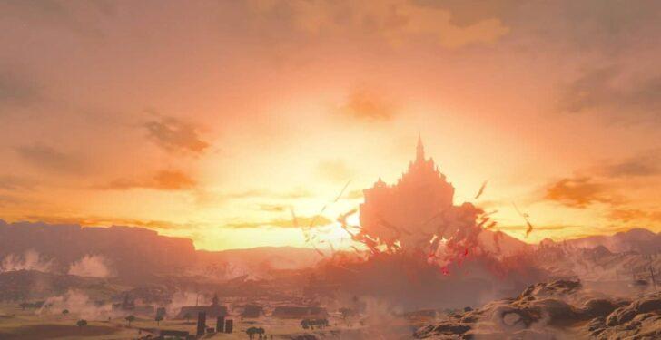 リンクが取り込まれそうになっていた赤黒い瘴気が吹き出したことにより浮かんだハイラル城