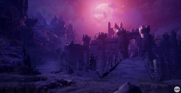 夜なのか日食現象が起こっているのか、紫の光が照らす中にたたずむ崩れた城